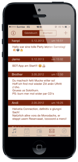 Boom di Ting App: Gästebuch
