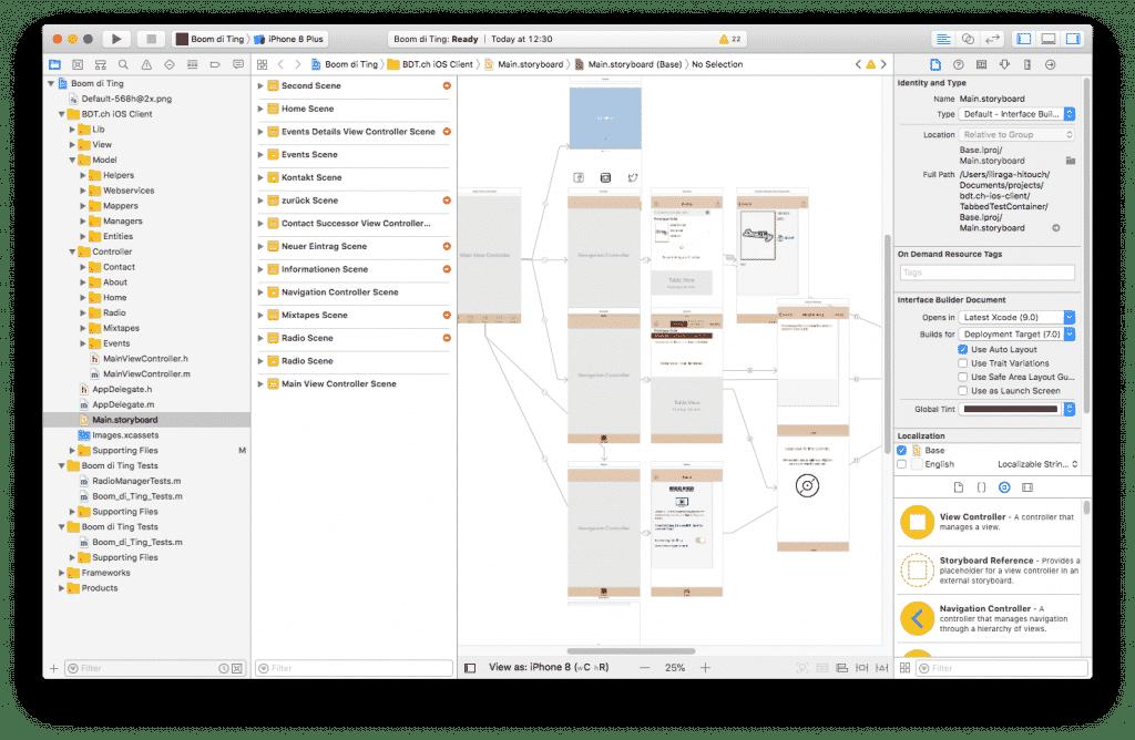 Screenshot aus einem nativen App-Projekt von IRTECH