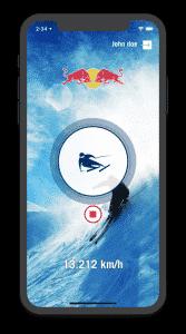 Ansicht bei aktiviertem GPS Tracking. Per pulsier-Animationen wird dem User vermittelt das das Aufzeichnen der GPS Positionen aktiv ist.
